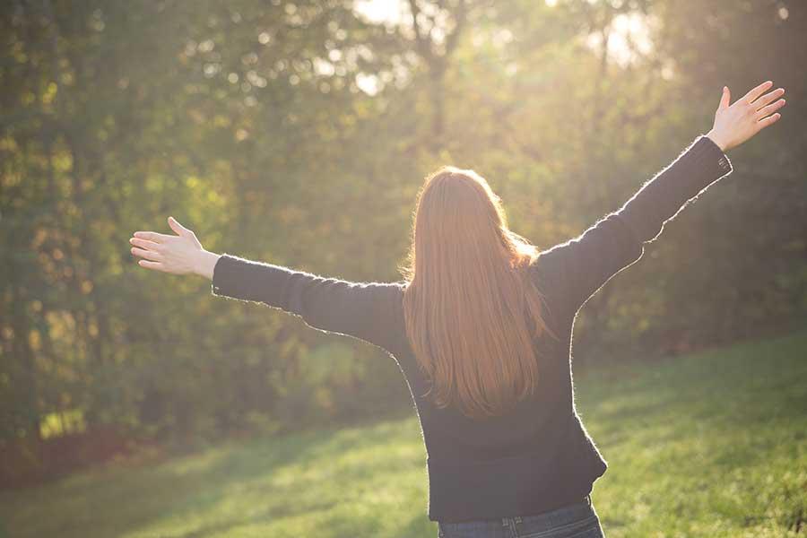Woman Embracing Spiritual Psychology